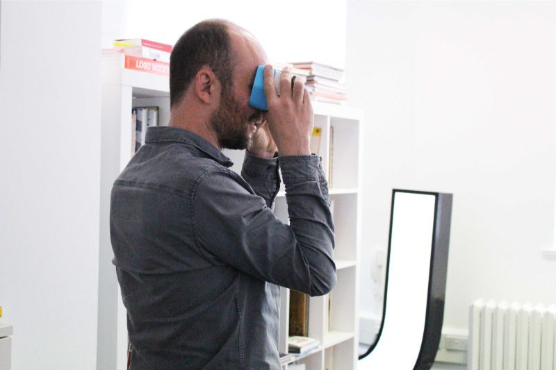 Andrew Baxter using a virtual reality headset