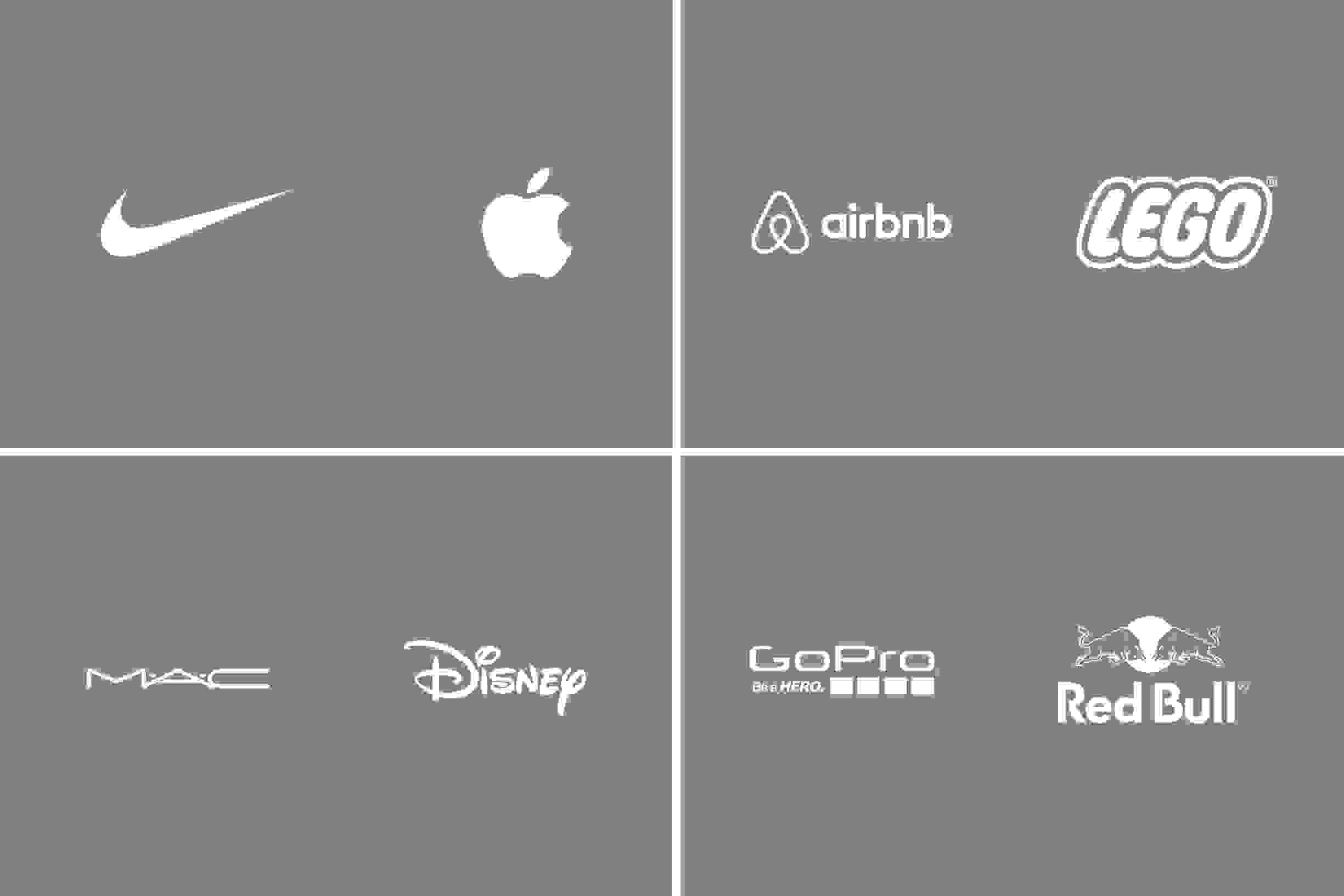 Nike, Apple, Airbnb, Lego, Mac, Disney, GoPro and Red Bull logo