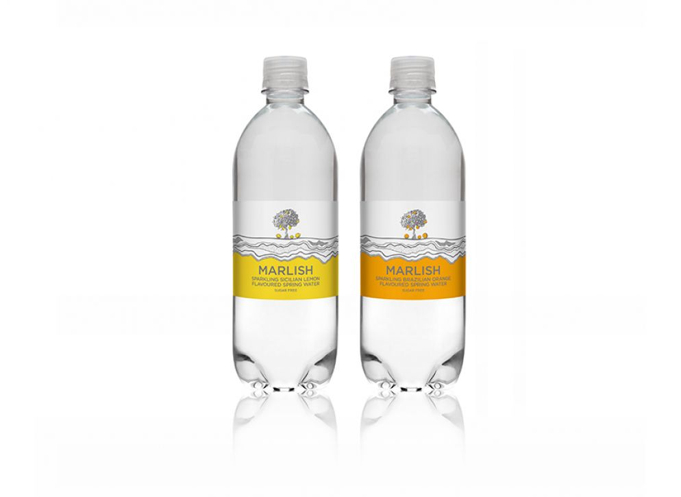 Two sparkling Marlish Water bottles