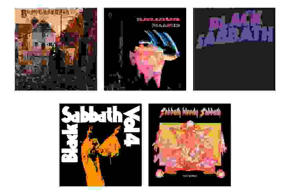 Overview of the first five albums by Black Sabbath.