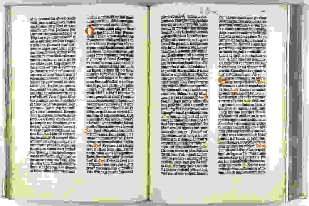 Spread from the Guttenberg Bible.