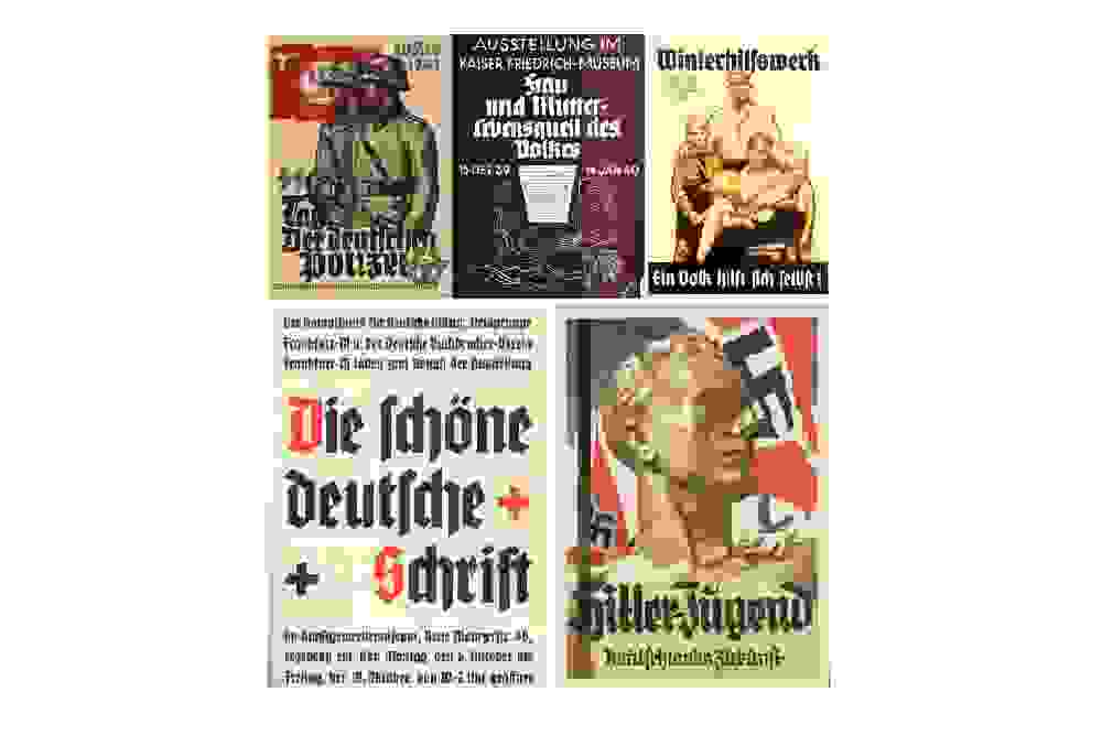 Overview of Nazi propaganda featuring blackletter fonts.