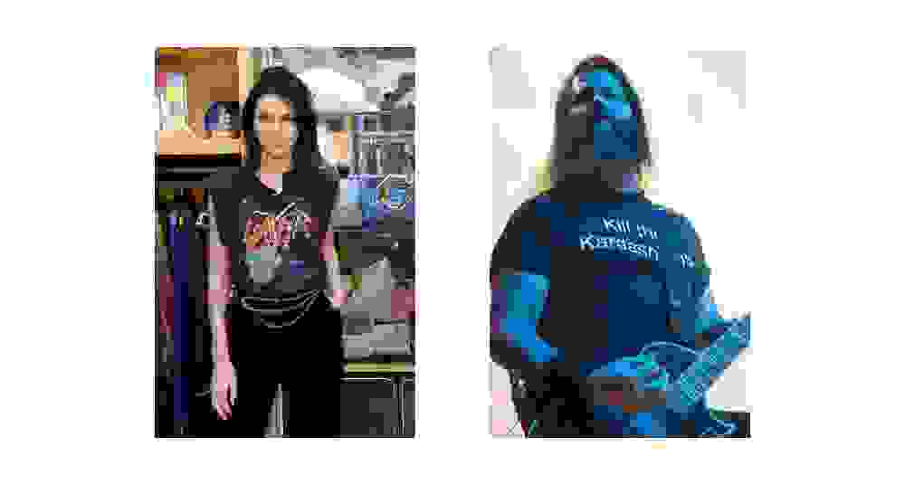 Kendall Jenner and Gary Holt wearing their respective t-shirts.