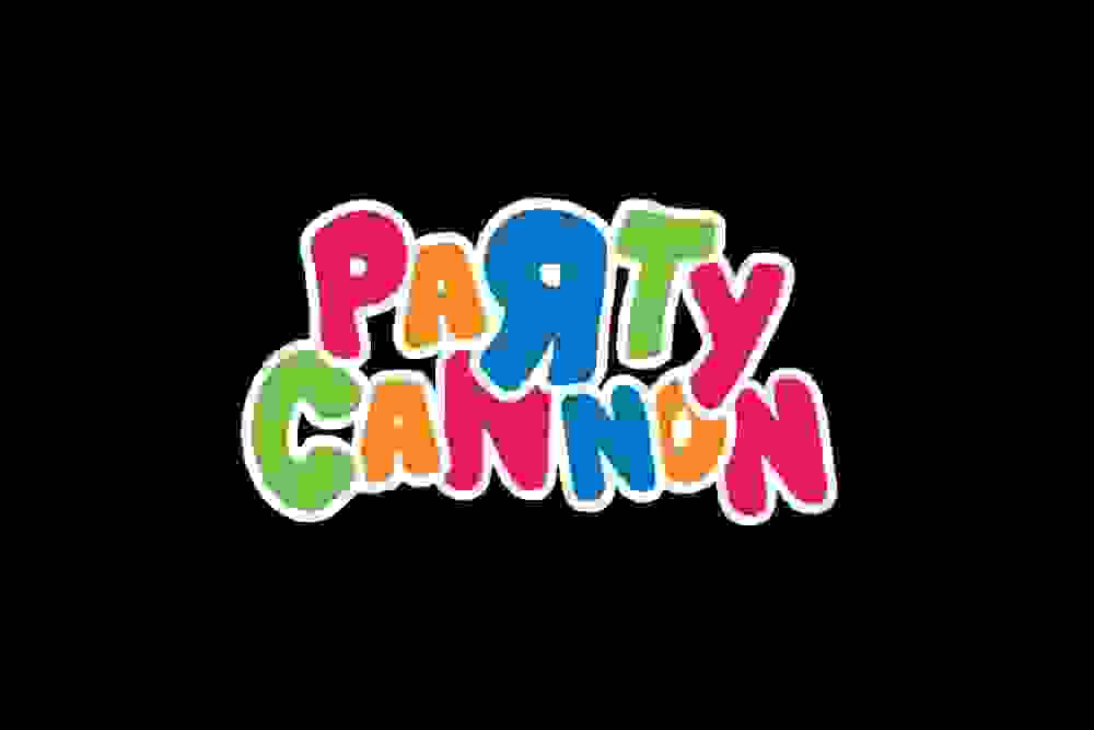 Logo for Party Canon in the Toys R Us font.